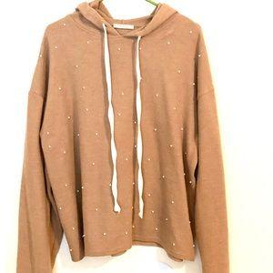 Zara oversized tan hoody w/ pearl embellishments